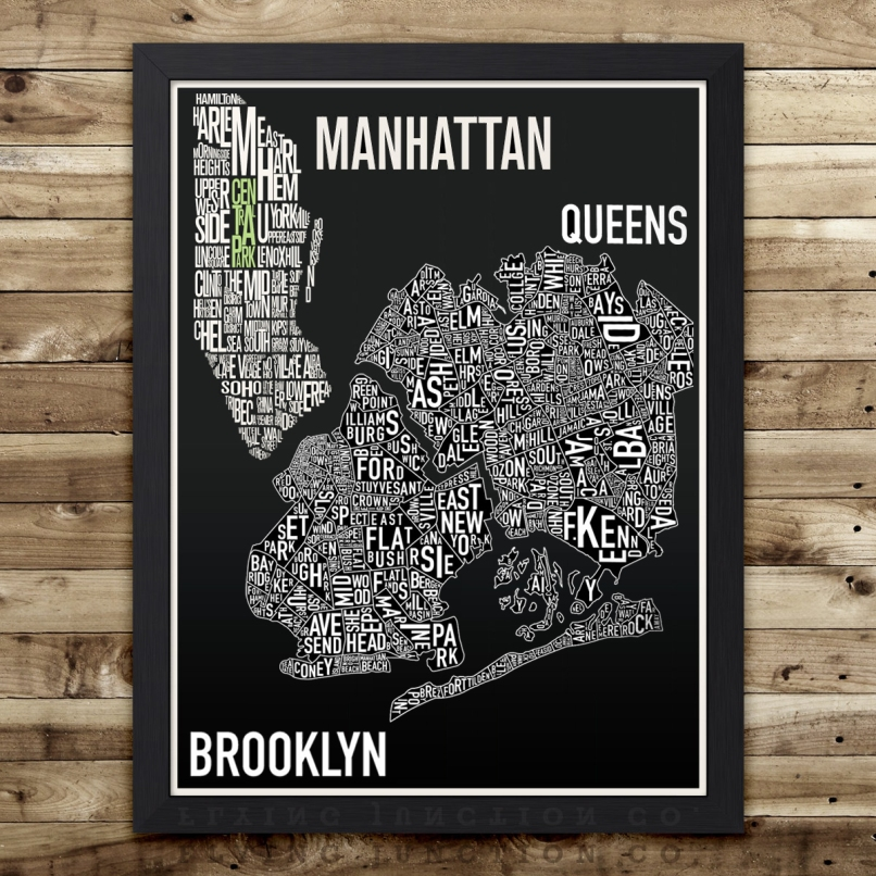 Typography Poster Graphic of NY Map Areas - Manhattan, Queens and Brooklyn