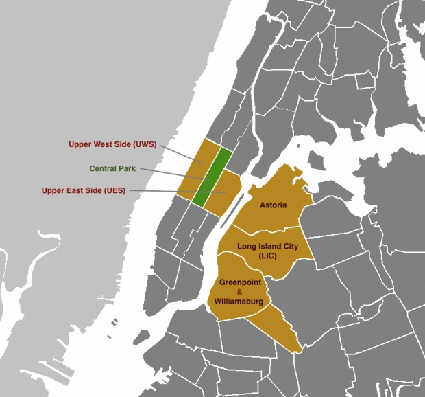 NY Map with Highlighted Areas of Service - Upper West Side, Central Park, Upper East Side, Astoria, Long Island City, Greenpoint & Williamsburg
