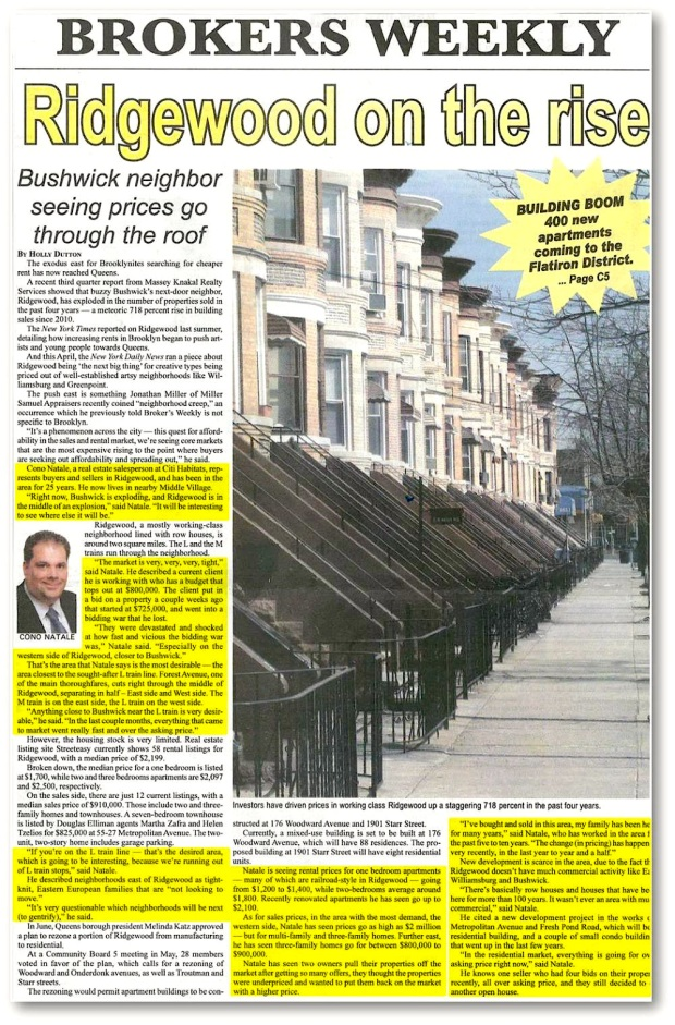 "Clipping of Cono Natale in Brokers Weekly 10/14 - ""Ridgewood on the rise"" Article"