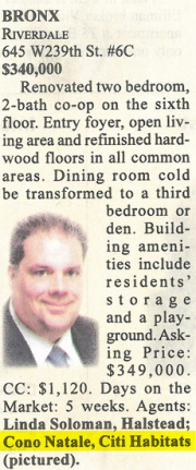 Clipping from Brokers Weekly 07/14 of Riverdale Listing
