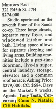 Clipping from Brokers Weekly 10/13 of Midtown East Listing
