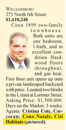 Clipping from Brokers Weekly 11/13 of Williamsburg Listing