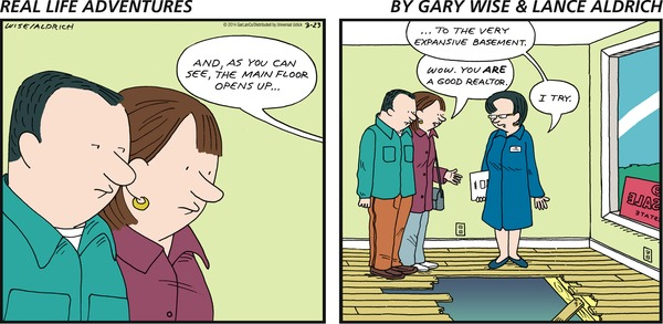 Venice-real-estate-agency-humor-shows-comic-of-home-buyers-at-venice-real-estate-house-with-hole-in-hardwood-floor (2)